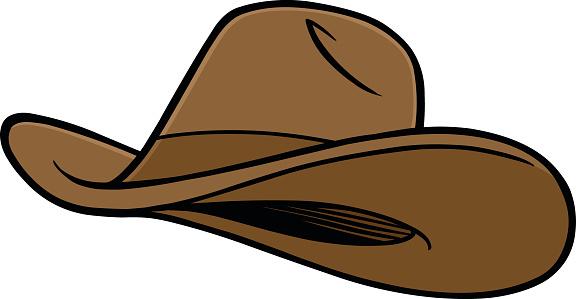 Cartoon brown cowboy hat on white background