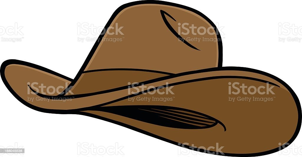 Cartoon brown cowboy hat on white background vector art illustration