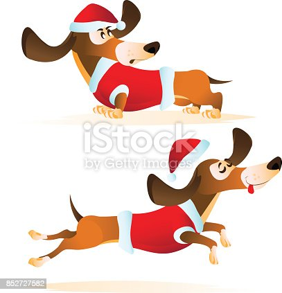Cartoon brown dachshund in Santa's hat and red jacket in different poses. Hand drawn vector illustration for Christmas and Happy New Year 2018 isolated on white background.