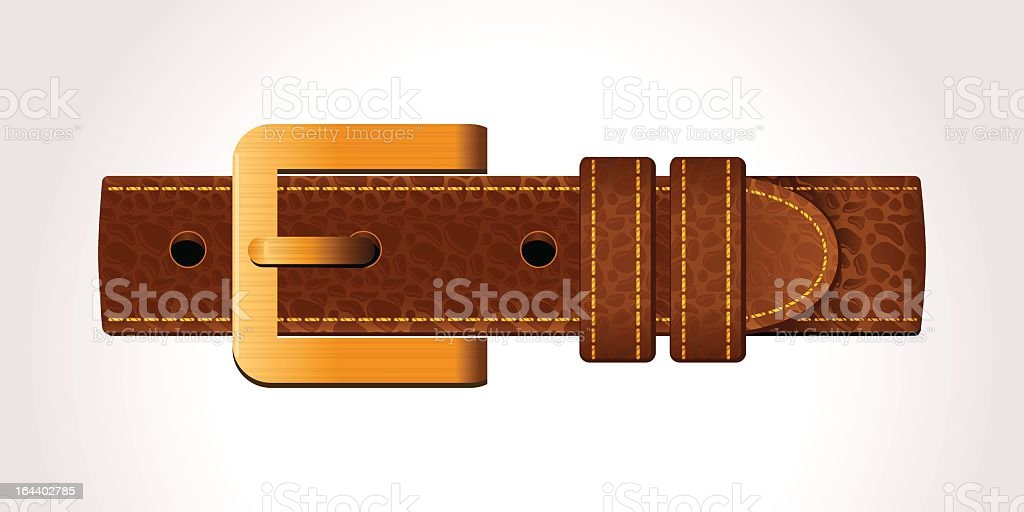Cartoon brown leather belt buckle on white background royalty-free stock vector art