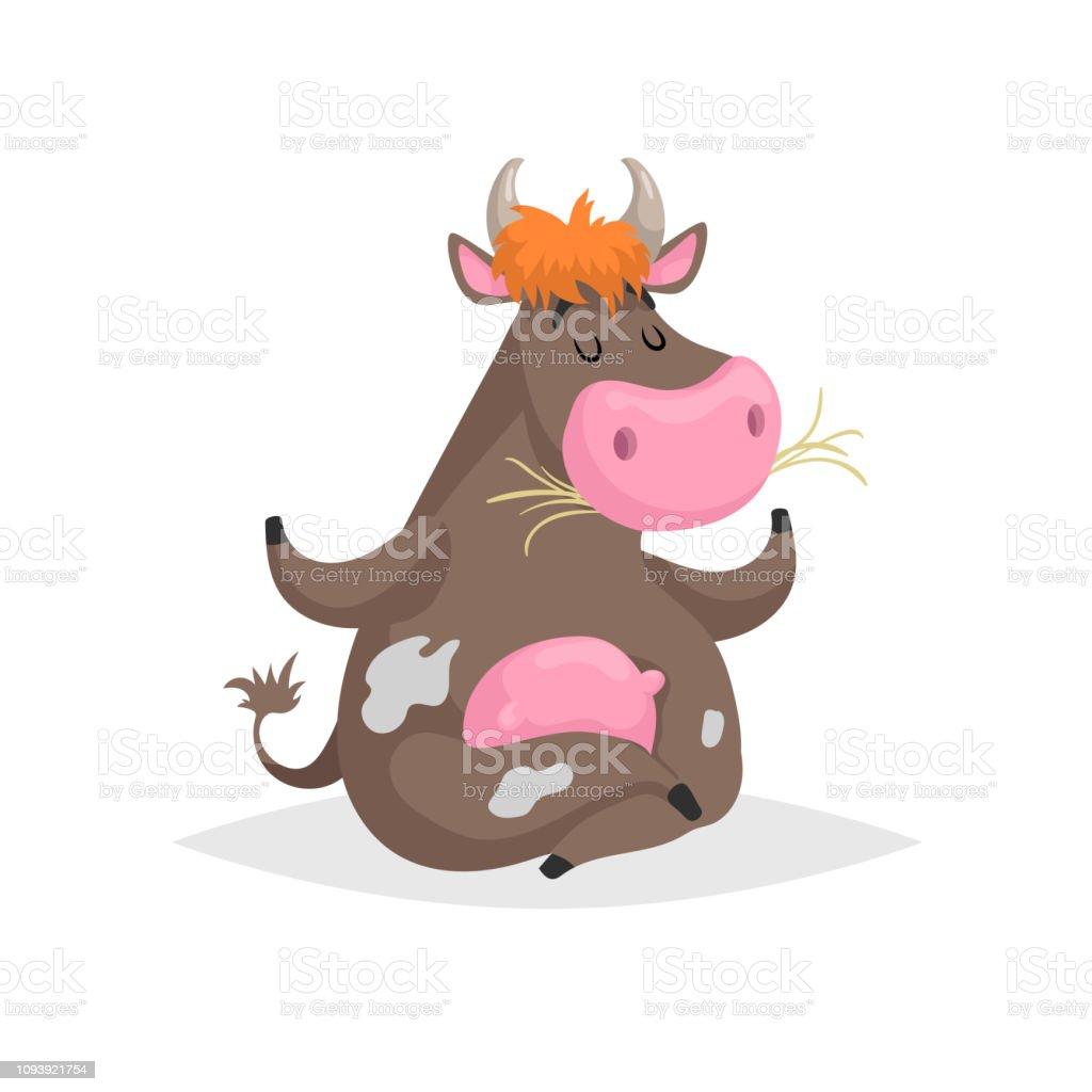 Vetores De Desenhos Animados Marrom Manchado Sentado Na Vaca De