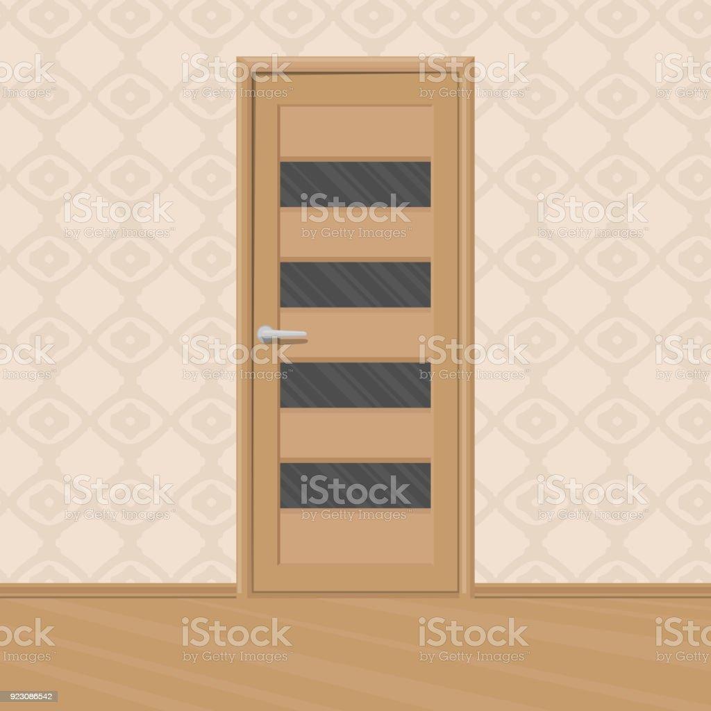 Cartoon Braun Neue Holztür Mit Tür Glasrahmen In Einem Raum ...
