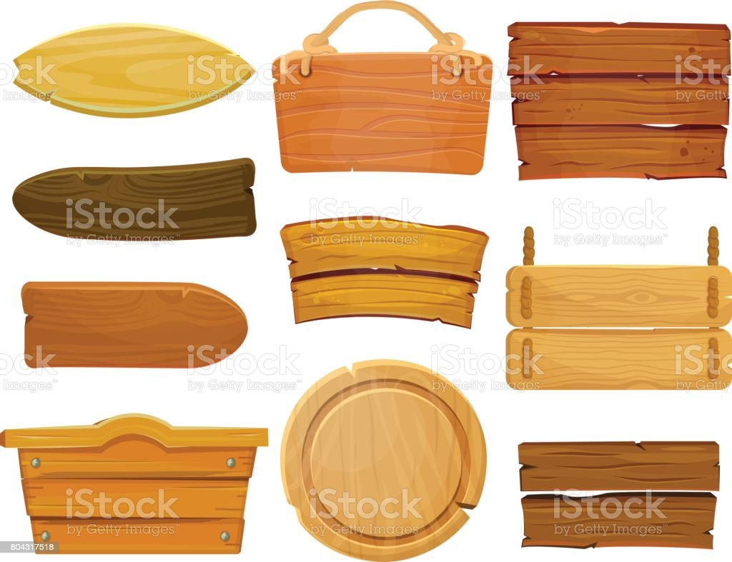 Cartoon brown wooden plate and ribbons. Old west wood board, vector set isolate on white background. vector art illustration