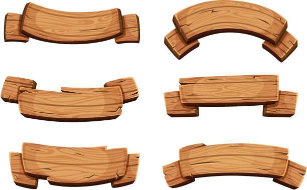 ilustrações de stock, clip art, desenhos animados e ícones de cartoon brown wooden plate and ribbons. vector set isolate on white background - madeira
