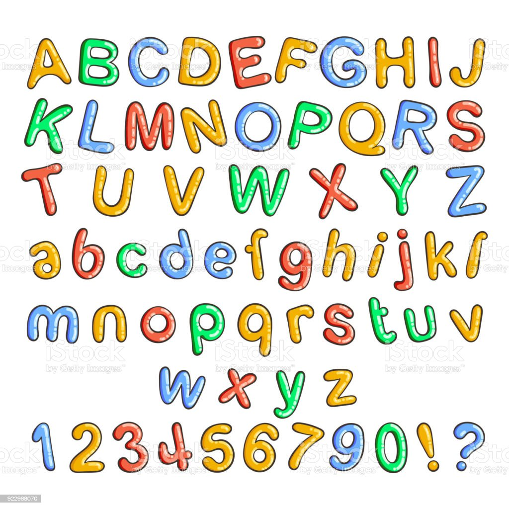 Cartoon Bubble Font Letters With Glint Royalty Free