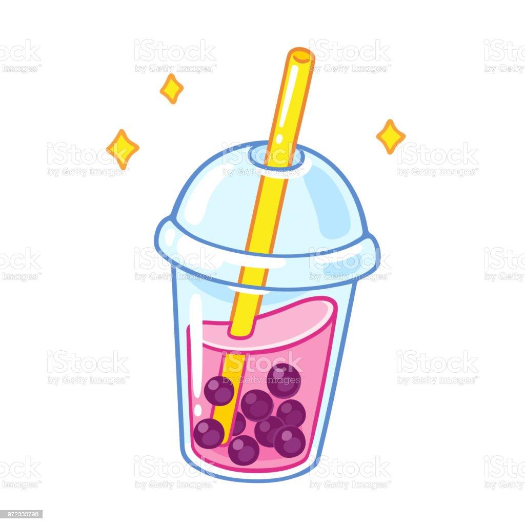Cartoon bubble tea vector art illustration