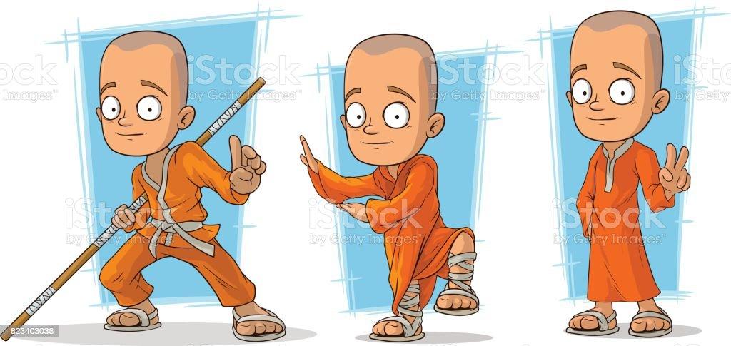 Vetores De Monge Budista De Desenho Animado Em Vetor De Carater