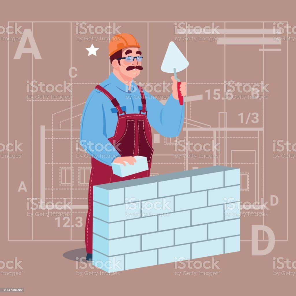 Cartoon Builder Laying Brick Wall Hold Spatula Over Abstract Plan Background Male Workman Royalty Free