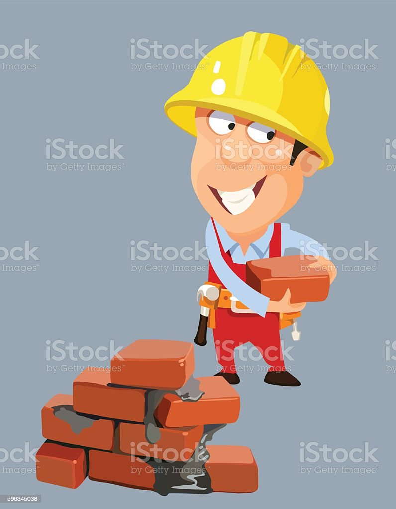 cartoon builder worker man in a helmet with bricks Lizenzfreies cartoon builder worker man in a helmet with bricks stock vektor art und mehr bilder von arbeiter