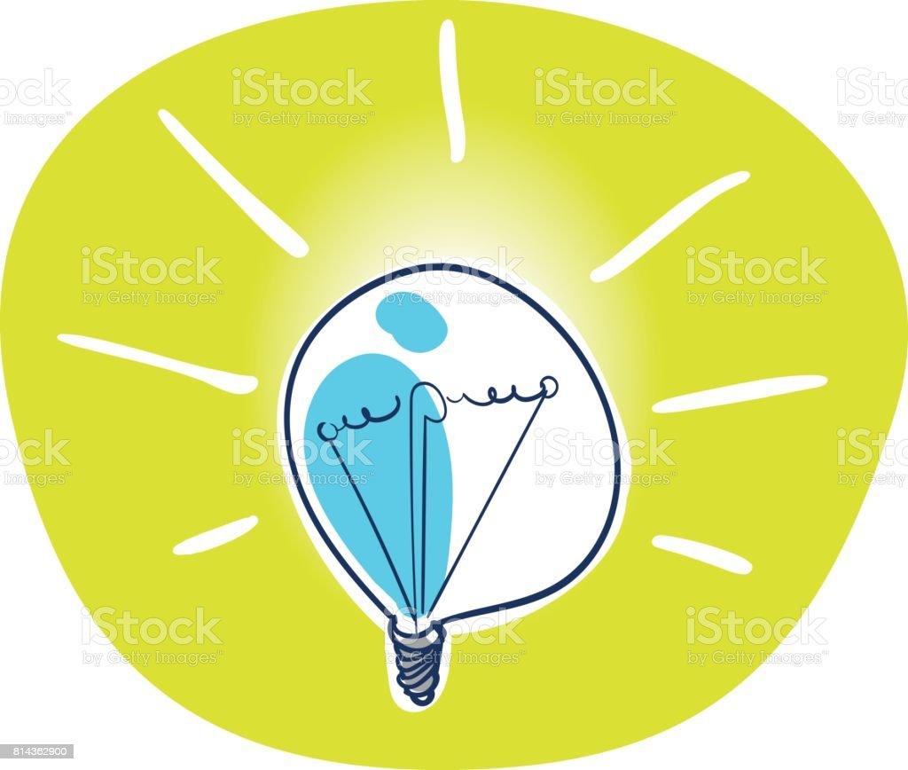 cartoon bulb yellow light icon vector art illustration