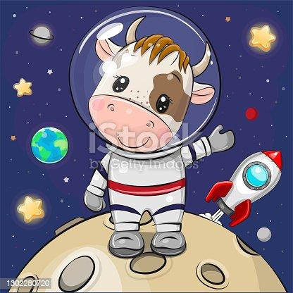 Cartoon Bull astronaut on the moon on a space background