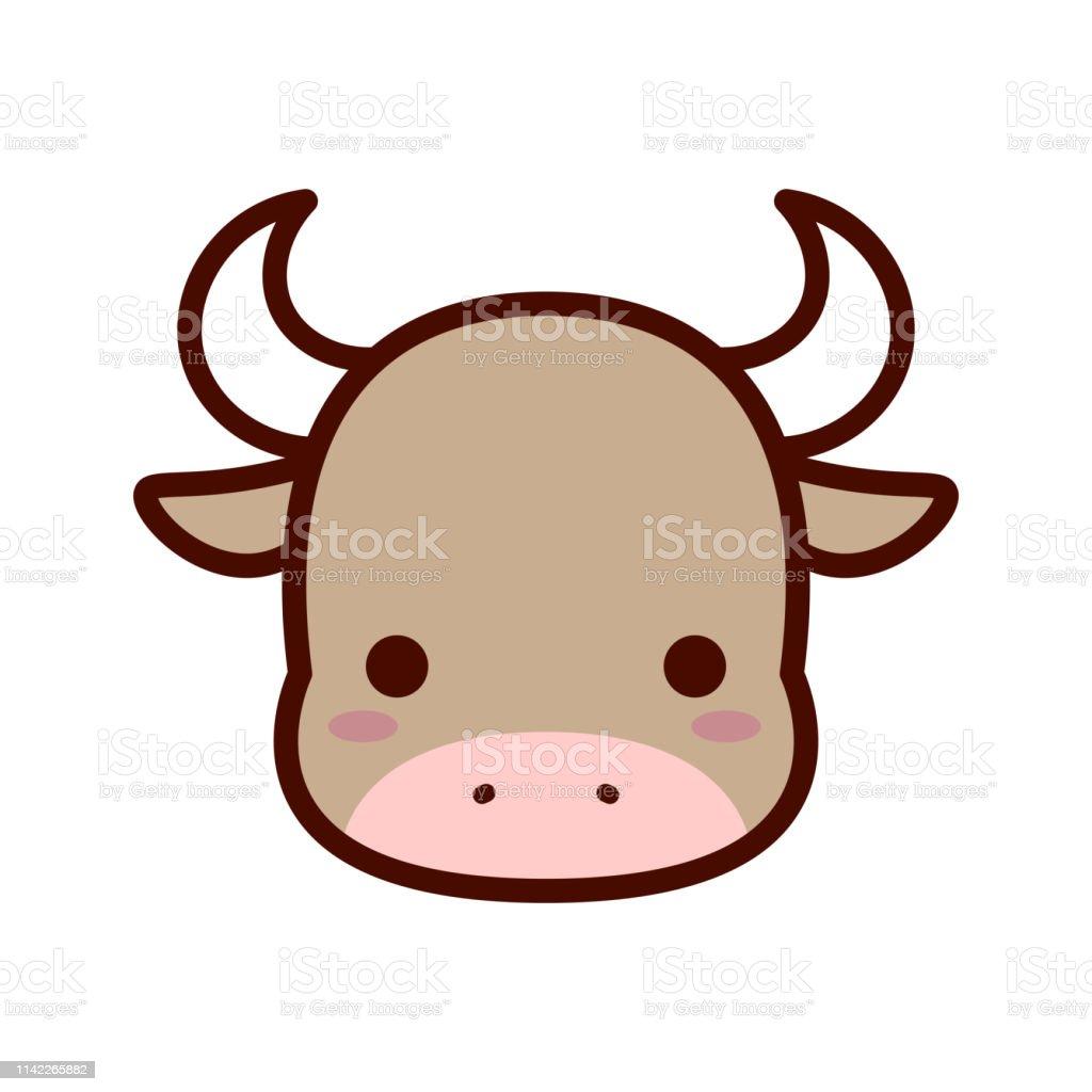 Cartoon Bull Icon Isolated On White Background Stock Illustration