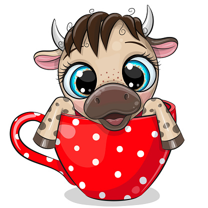 Cartoon Bull is sitting in a red Cup