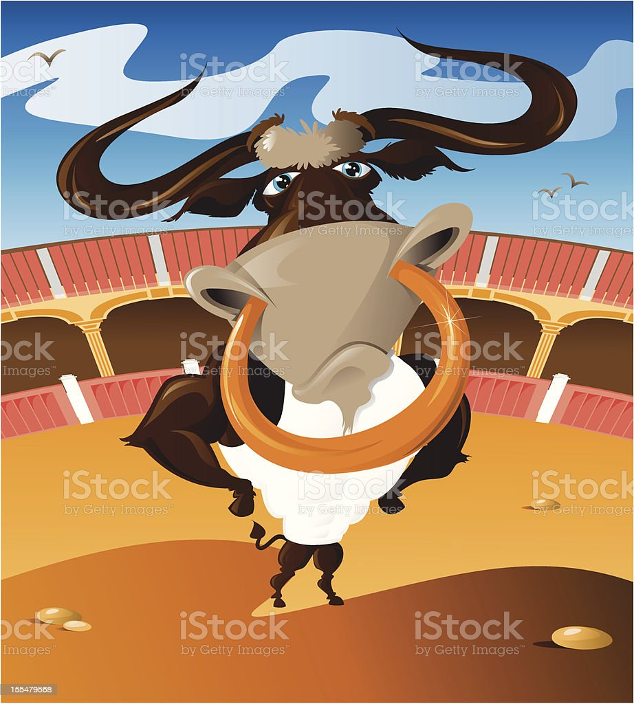 cartoon bull standing proudly in the centre of a stadium royalty-free stock vector art