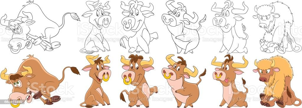 cartoon bulls set vector art illustration