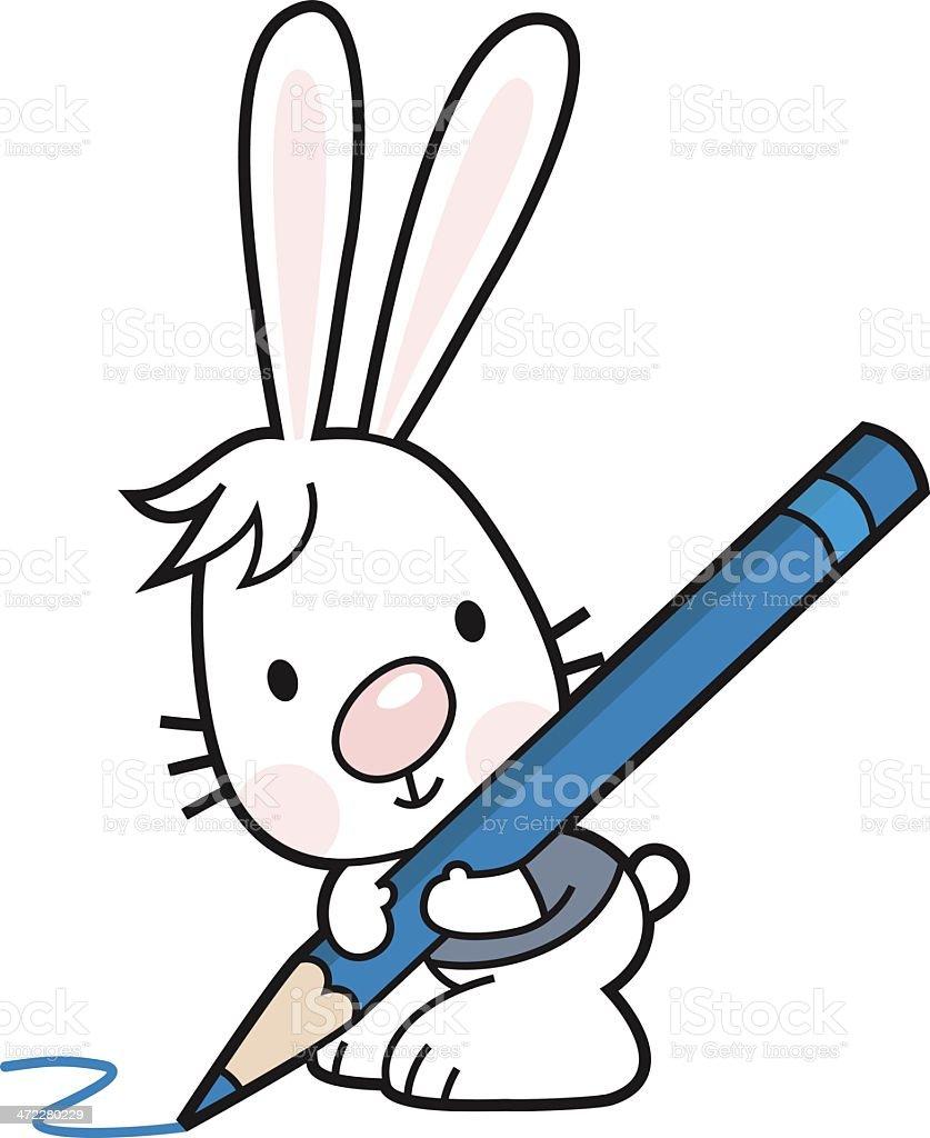 Lapin En Dessin Anime Avec Un Crayon Et Crayons De Couleurs