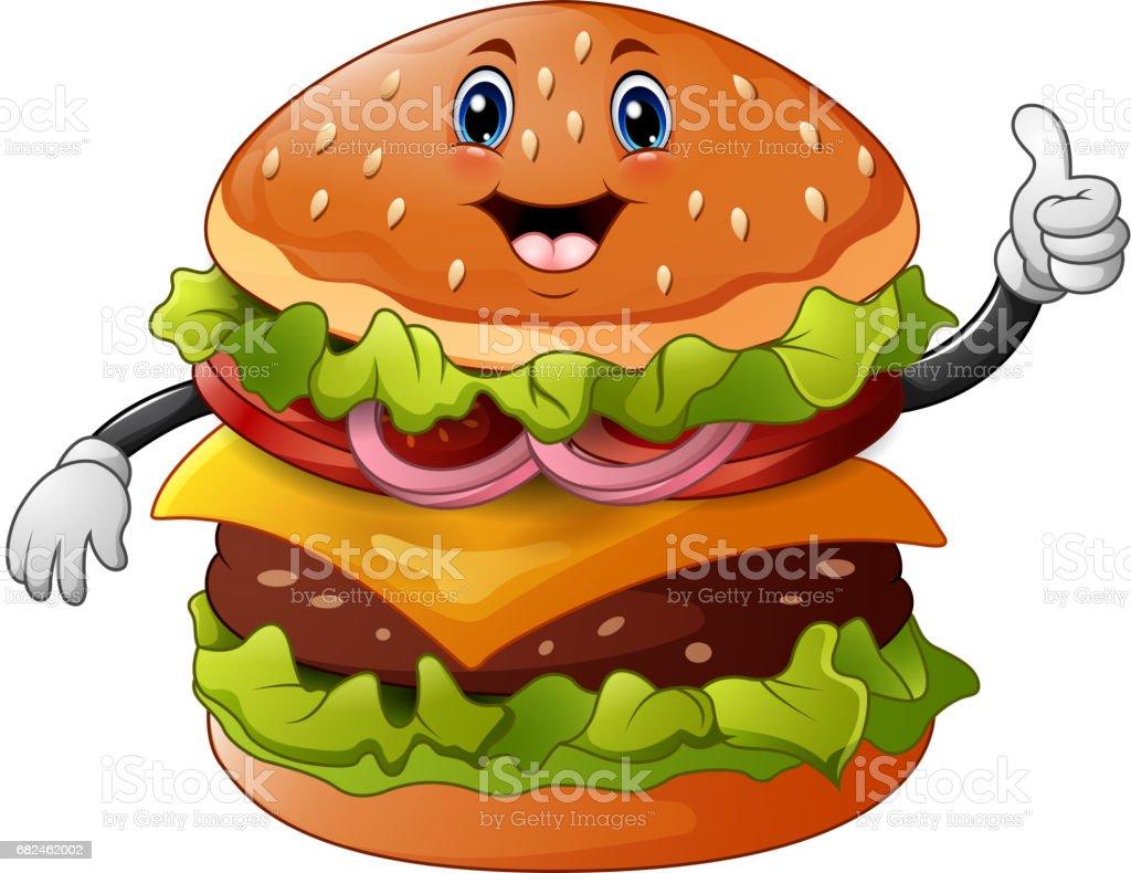 Cartoon burger giving a thumbs up vector art illustration