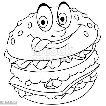 çizgi Film Burger Hamburger çizburger Stok Vektör Sanatı Animasyon