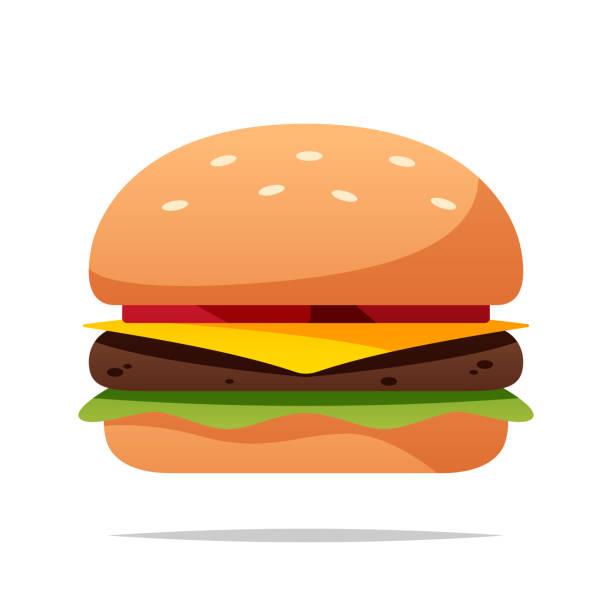 illustrazioni stock, clip art, cartoni animati e icone di tendenza di illustrazione isolata del vettore di hamburger dei cartoni animati - hamburger