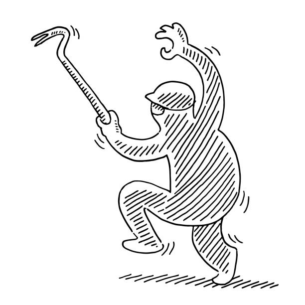Cartoon Burglar With Crowbar Drawing Hand-drawn vector drawing of a Cartoon Burglar With a Crowbar. Black-and-White sketch on a transparent background (.eps-file). Included files are EPS (v10) and Hi-Res JPG. cartoon character figure stock illustrations