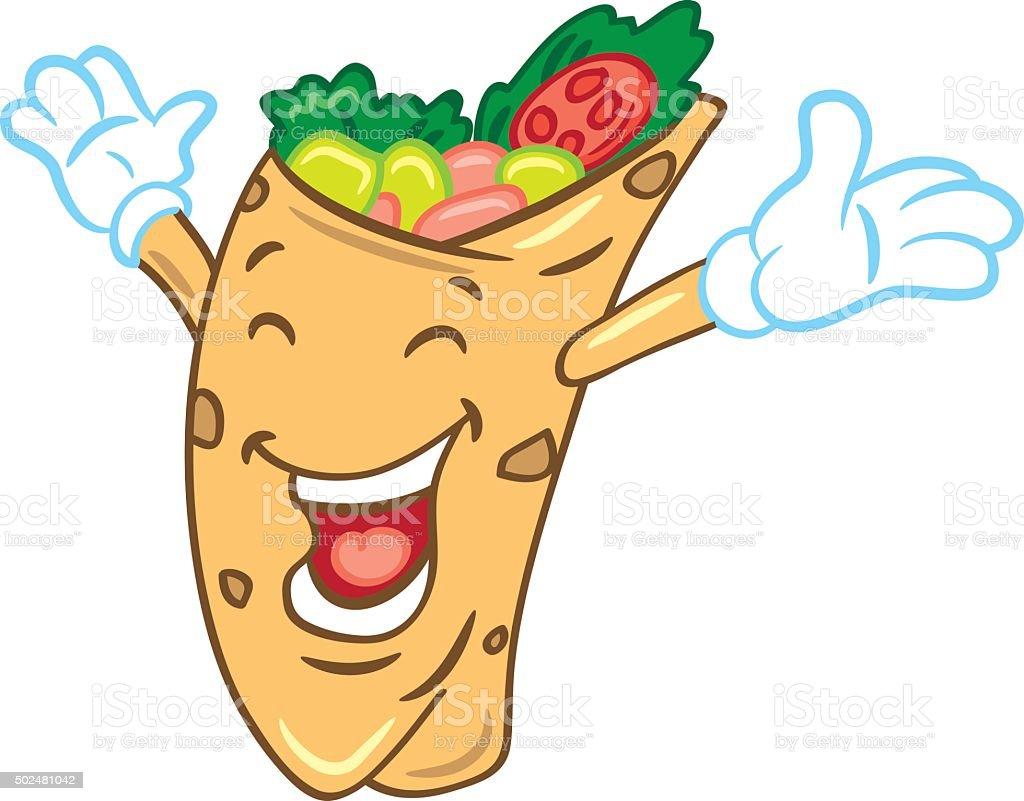 Cartoon burrito with happy expression vector art illustration