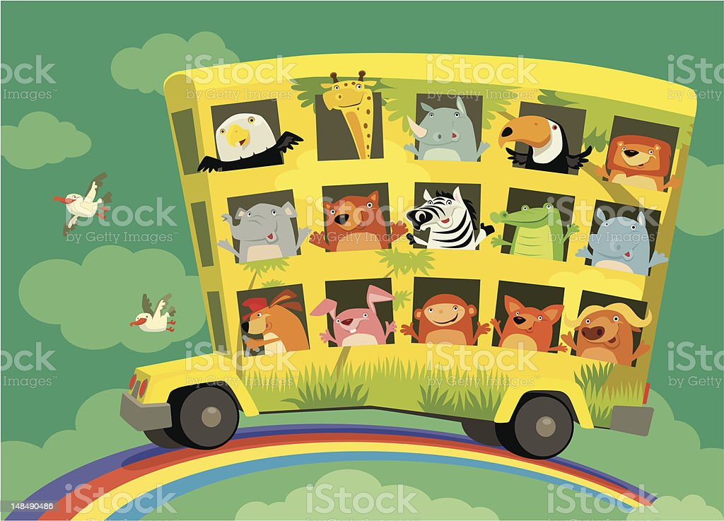 Cartoon bus with many animals driving on a rainbow royalty-free cartoon bus with many animals driving on a rainbow stock vector art & more images of african buffalo