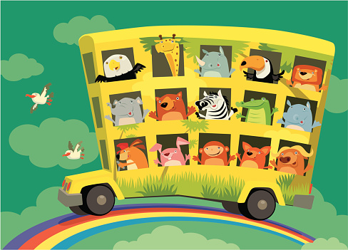 Cartoon bus with many animals driving on a rainbow