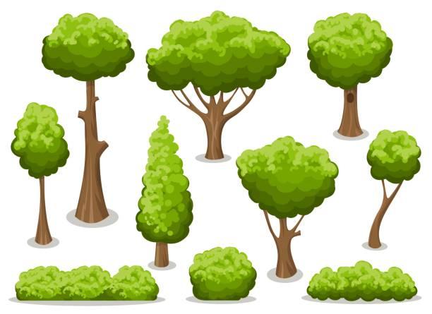 ilustraciones, imágenes clip art, dibujos animados e iconos de stock de conjunto de arbusto y árbol de dibujos animados - árbol