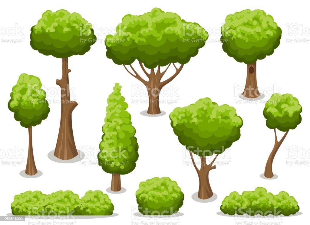 Conjunto de arbusto y árbol de dibujos animados - ilustración de arte vectorial