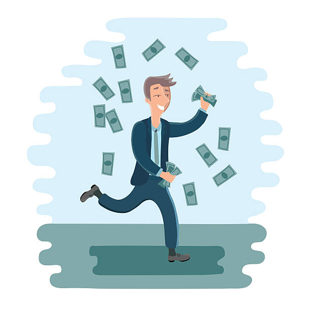 stockillustraties, clipart, cartoons en iconen met cartoon businesman dancing with money - geld uitgeven