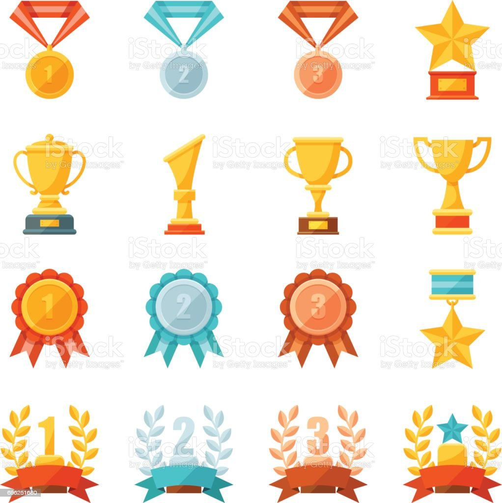 Cartoon business and sport awards and trophy illustration set, Colorful flat vector icons of golden, bronze and silver medals, cups, and bowls, Prize and achievement concept vector art illustration
