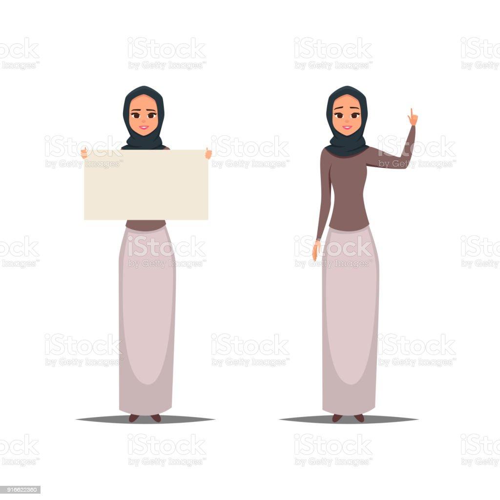 Personnage De Dessin Anime Affaires Femme Arabe Avec Hijab