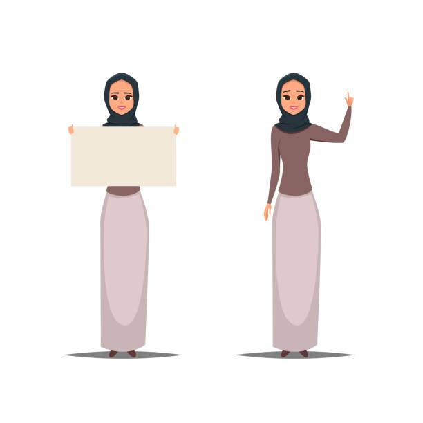 卡通商業阿拉伯婦女字元與蓋頭 - emirati woman 幅插畫檔、美工圖案、卡通及圖標