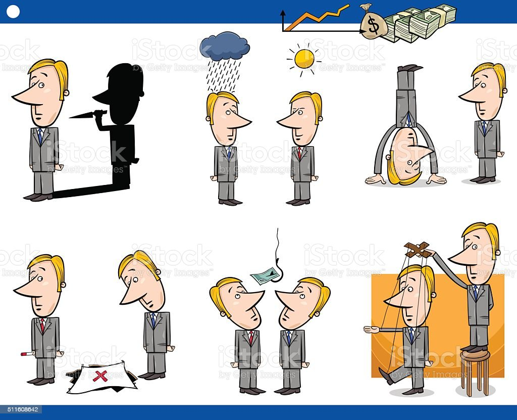 cartoon business concepts set vector art illustration