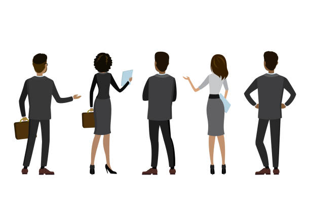 Cartoon business people back view Cartoon business people back view,isolated on white background,flat vector illustration back stock illustrations