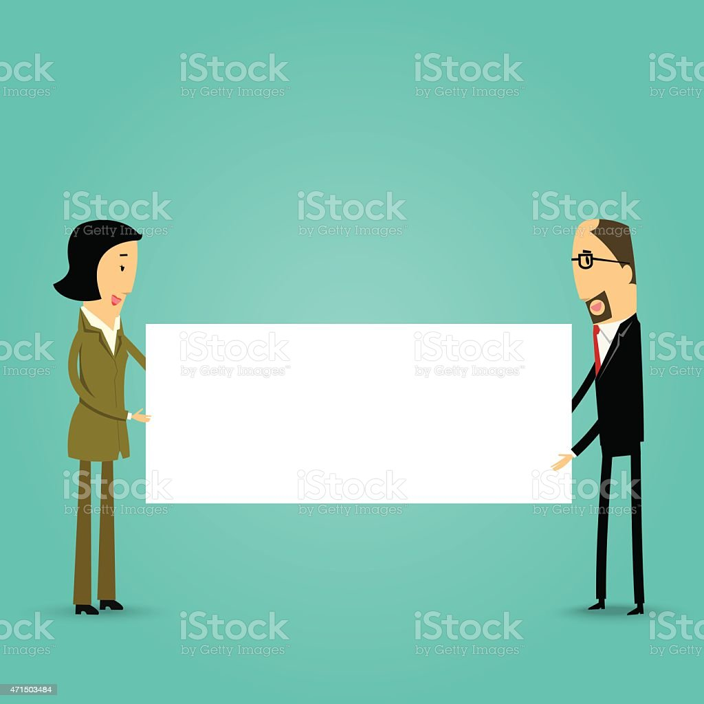 Cartoon business people holding a blank board vector art illustration
