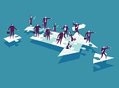 Vector illustration - cartoon business people over puzzle pieces