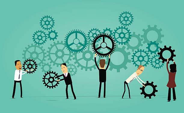Cartoon Business Teamwork Concept vector art illustration