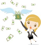 Cartoon business woman with flying money