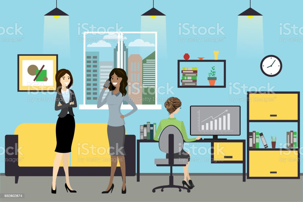 Ilustración De Mujeres Dibujos Animados A Trabajar En La Oficina
