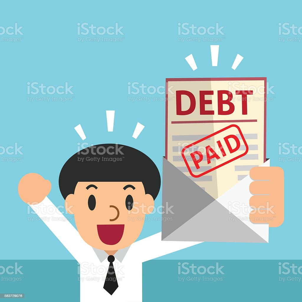Cartoon businessman and paid debt letter vector art illustration