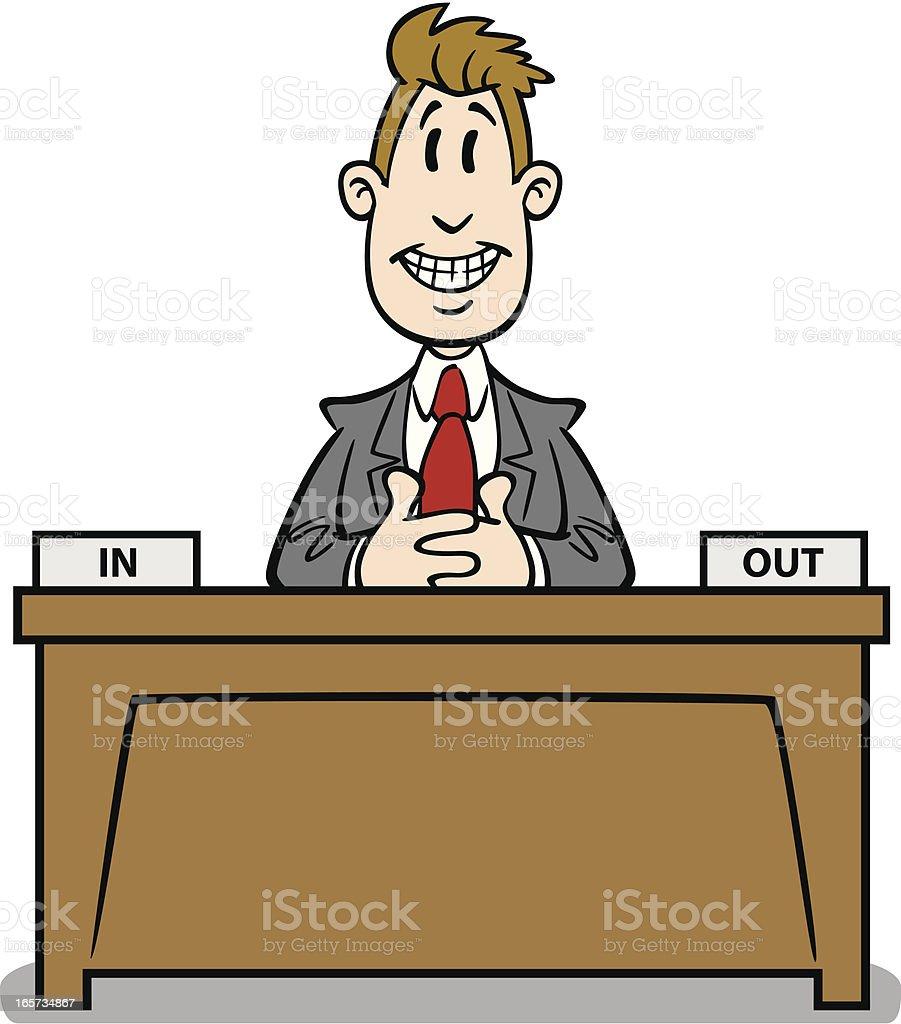 Schreibtisch büro comic  Cartoon Geschäftsmann Am Schreibtisch Vektor Illustration ...