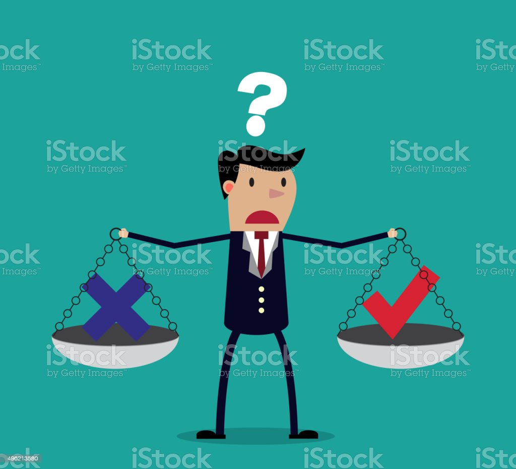 Cartoon businessman balancing cross and tick symbol vector art illustration