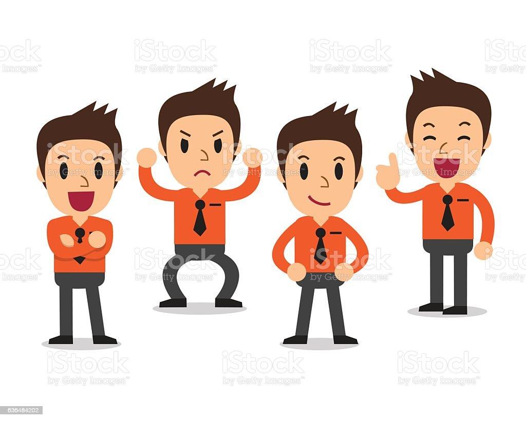 Cartoon businessman character poses vector art illustration