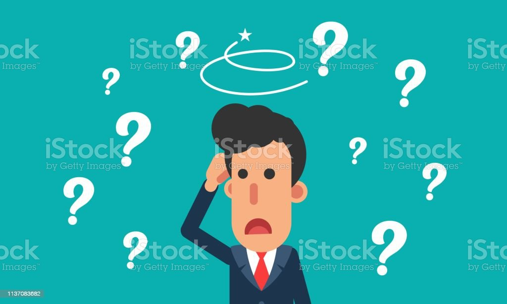 Cartoon businessman confuse with question mark cartoon businessman confuse with question mark flat design illustration Abstract stock vector