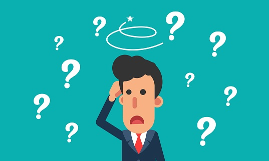 Cartoon Businessman Confuse With Question Mark Stock Illustration - Download Image Now