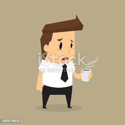 Cartoon businessman drink coffee because of drowsiness.vector