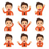 Cartoon businessman faces showing different emotions for design.