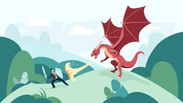 Cartoon businessman fighting fire breathing dragon vector graphic illustration