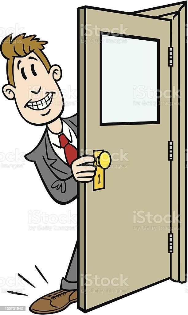 Cartoon Businessman Getting His Foot In Door royalty-free stock vector art